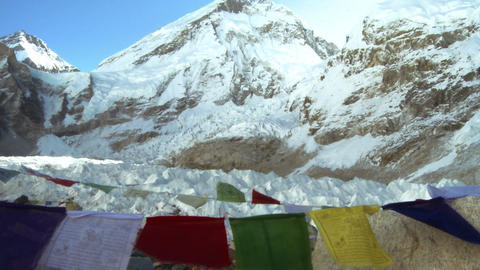 Buddhist prayer flags with Mount Everest in the background Footage