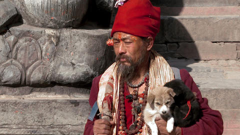 Old man in Nepal holding puppies and sitting on stone steps Footage
