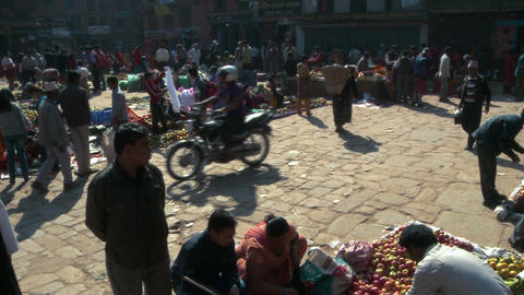 Market in a village square in Nepal Footage