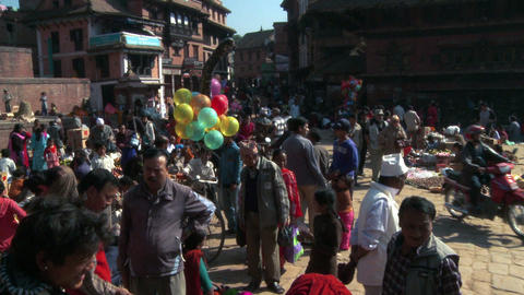 Busy square in a Nepali village Footage
