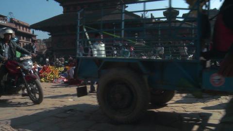 Busy street in a Nepali village Footage
