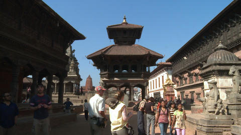 Tourists at a temple in Nepal Footage