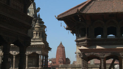 Panorama of a Nepali temple Footage