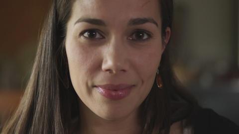 Zoom of beautiful hispanic woman's face Footage