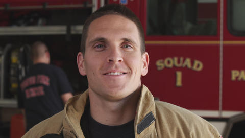 Close-up shot of a fireman at the fire station Footage