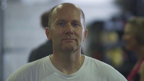 Static shot of a balding middle-aged man Footage