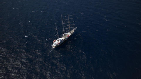 Beautiful Yacht In Calm Weather Sailing On The Ocean stock footage