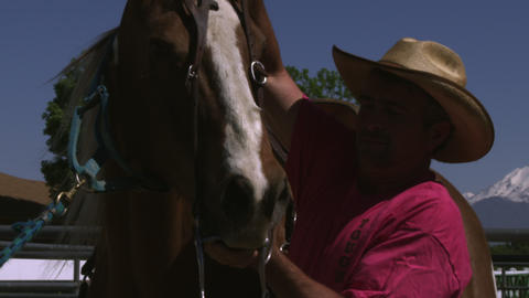 Slow handheld shot of a cowboy putting a bridle on a horse Footage