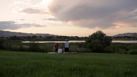 A static shot of two young boys and one young girl run towards a picnic in a par Footage