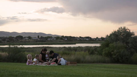 A tracking shot of a young family of six having a picnic by a lake on a cloudy d Footage