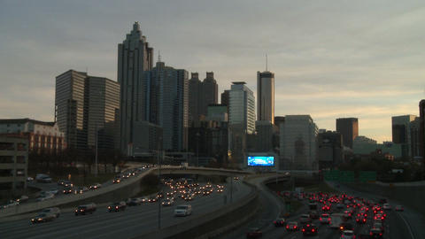 Static, extremely sped up shot of traffic on the freeway in Atlanta, Georgia Footage