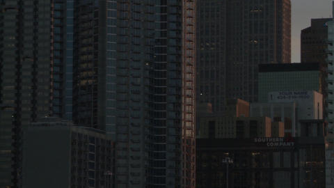 Closeup pan from right to left of the Atlanta Skyline during dusk Footage