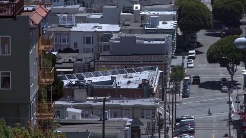 Static motin shot over looking buildings in San Francisco while heat waves disto Footage