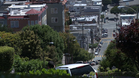 View from the top of Lombard Street in San Francisco looking down the road Footage