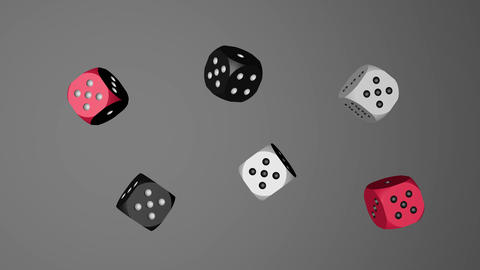Red White Black Dice Loop Moving, 3D Rendering 4K Animation