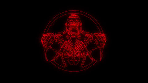 Red Gorilla Gym Fitness Animated Logo with Reveal Effect Animation