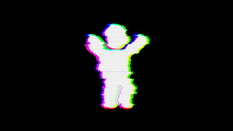 From the Glitch effect arises child symbol. Then the TV turns off. Alpha channel Animation