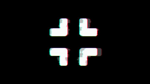 From the Glitch effect arises compress symbol. Then the TV turns off. Alpha Animation