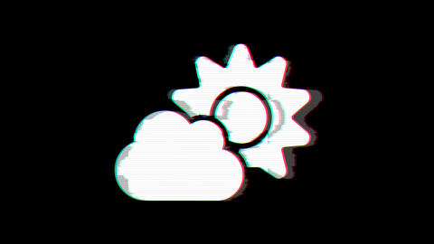 From the Glitch effect arises cloud sun symbol. Then the TV turns off. Alpha Animation
