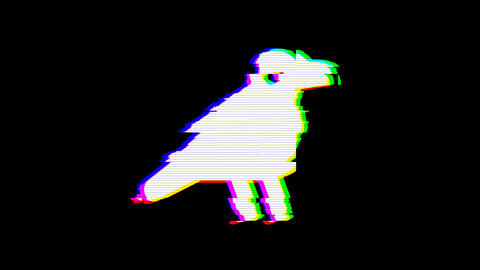 From the Glitch effect arises crow symbol. Then the TV turns off. Alpha channel Animation