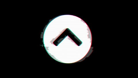 From the Glitch effect arises chevron circle up symbol. Then the TV turns off. Animation