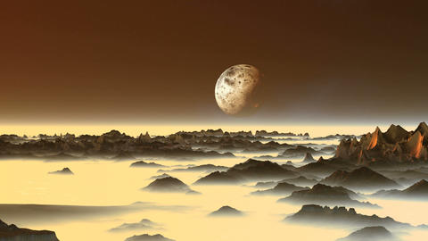 Alien Moon over the Misty Mountains GIF