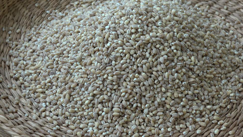 View into a basket full of wheat grains. Wheat grains. Wheat and cereals Footage
