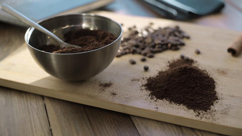 Natural ground coffee in a bowl Footage