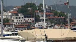 Turkey Aegean coast Mugla Province Marmaris old town behind masts and rigging Footage