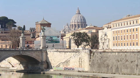 View of the Dome of St Peter from Castel Sant'Angelo Footage