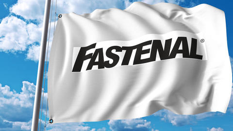 Waving flag with Fastenal logo. 4K editorial animation Footage