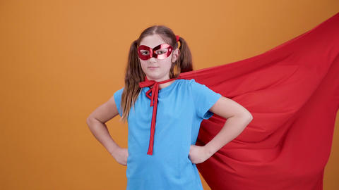 Girl playing the role of a superhero from the movie Footage