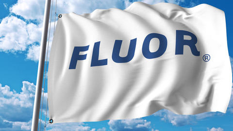 Waving flag with Fluor Corporation logo. 4K editorial animation Live Action