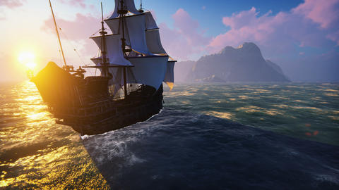 A large medieval ship at sea at sunrise. An ancient medieval ship sails to a Animation