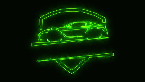 Green Sport Car Animated Logo Loop Graphic Element Animation