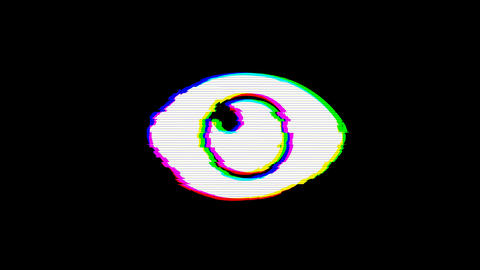 From the Glitch effect arises eye symbol. Then the TV turns off. Alpha channel Animation