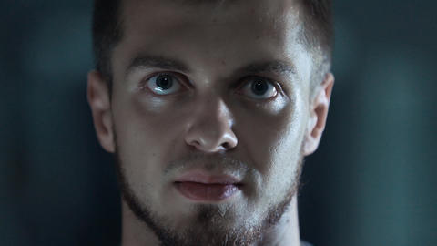Close-up of the face of the evil of men Footage
