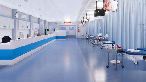 Empty with no people interior of hospital emergency room GIF