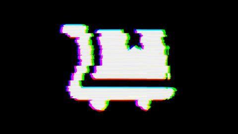 From the Glitch effect arises dolly flatbed symbol. Then the TV turns off. Alpha Animation