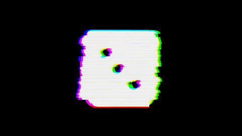 From the Glitch effect arises dice three symbol. Then the TV turns off. Alpha Animation