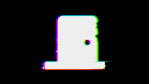 From the Glitch effect arises door closed symbol. Then the TV turns off. Alpha Animation