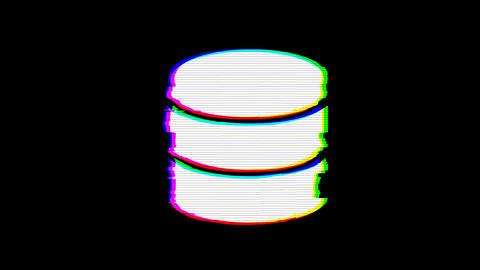 From the Glitch effect arises database symbol. Then the TV turns off. Alpha Animation