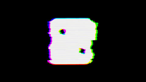 From the Glitch effect arises dice two symbol. Then the TV turns off. Alpha Animation