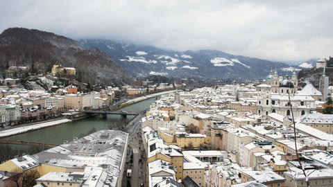 panoramic view of the city of Salzburg from a museum of contemporary art, you Footage
