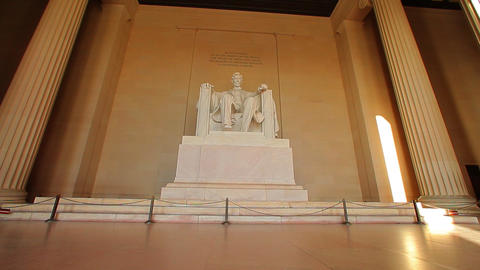 A static shot of the Abraham Lincoln statue at the Lincoln Memorial Footage