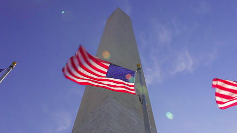 A static shot with a lens flare of flags waving in the wind in front of the Wash Footage