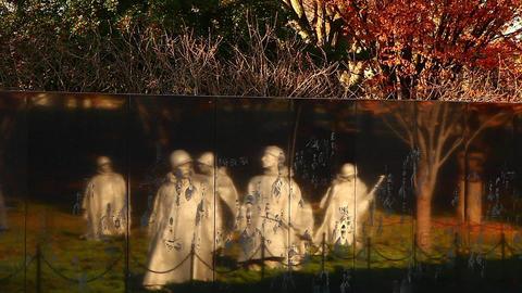 Tilting shot of the Korean War Veterans Memorial wall in Washington DC Footage