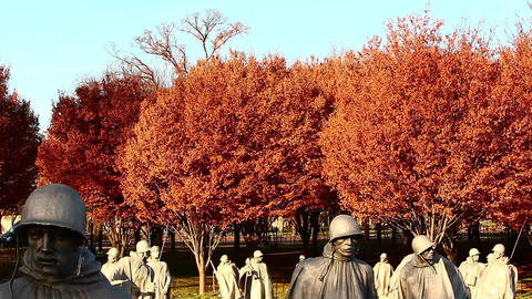 Tilting shot of statues at the Korean War Veterans Memorial in Washington DC Live Action