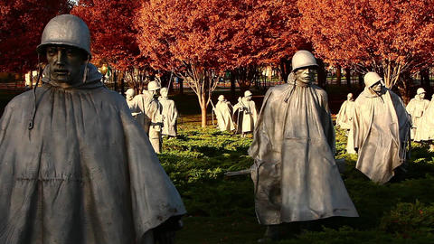 Panning shot of statues at the Korean War Veterans Memorial Footage