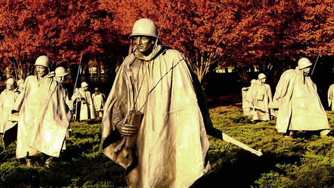 Pan of soldier statues at the Korean War Veterans Memorial in Washingto DC Footage